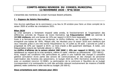 Compte rendu du conseil municipal du 12 Novembre 2020