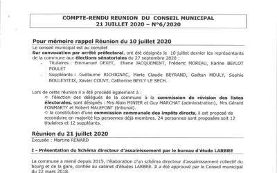Compte rendu du conseil municipal du 21Juillet 2020