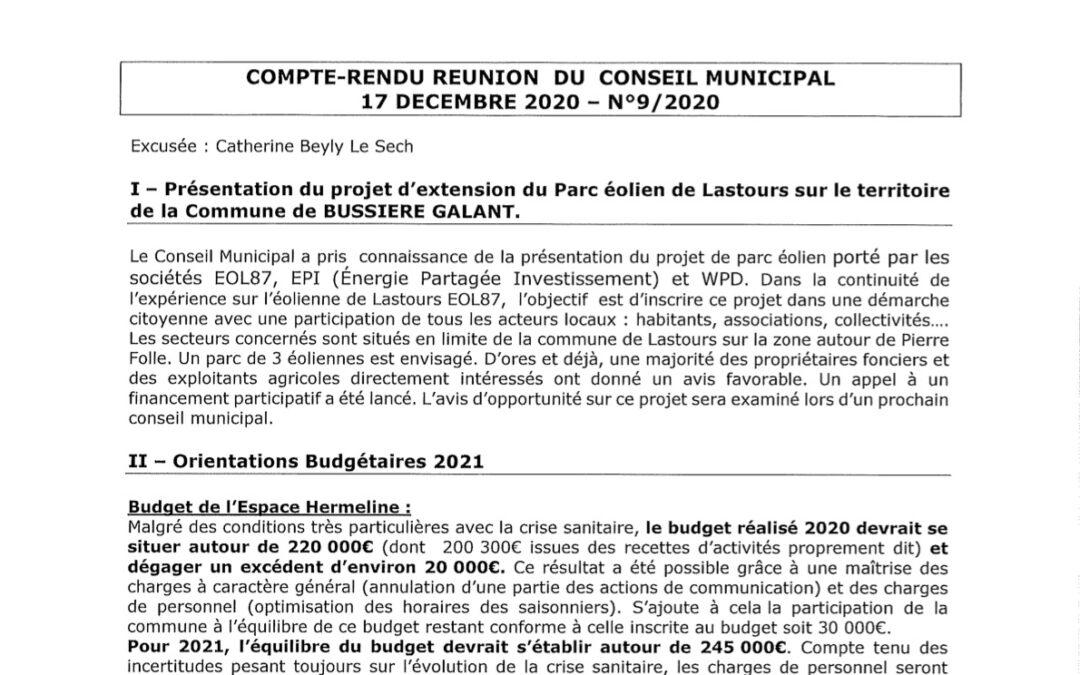 Compte rendu du conseil municipal du 17 Décembre 2020