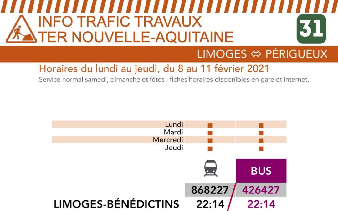 Travaux sur ligne SNCF Limoges-Périgueux