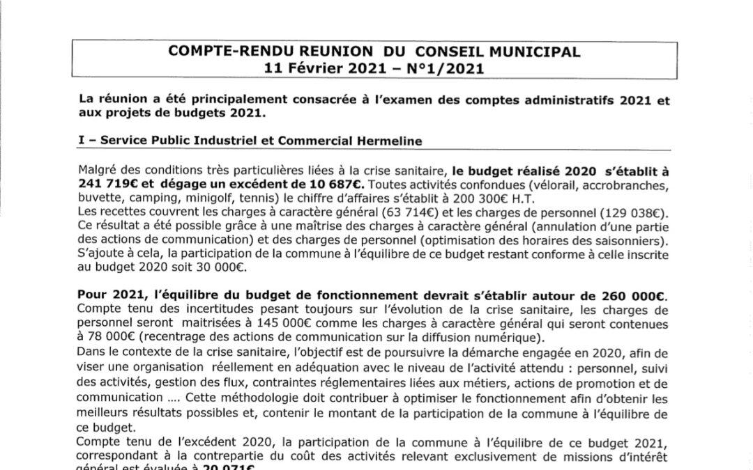 Compte rendu du conseil municipal du 11 Février 2021