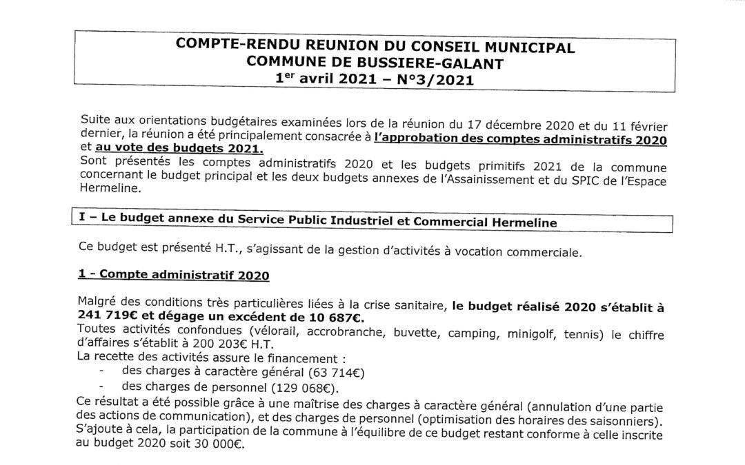 Compte rendu du conseil municipal du 01 Avril 2021