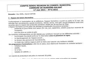 Compte rendu du conseil municipal du 17 Mai 2021