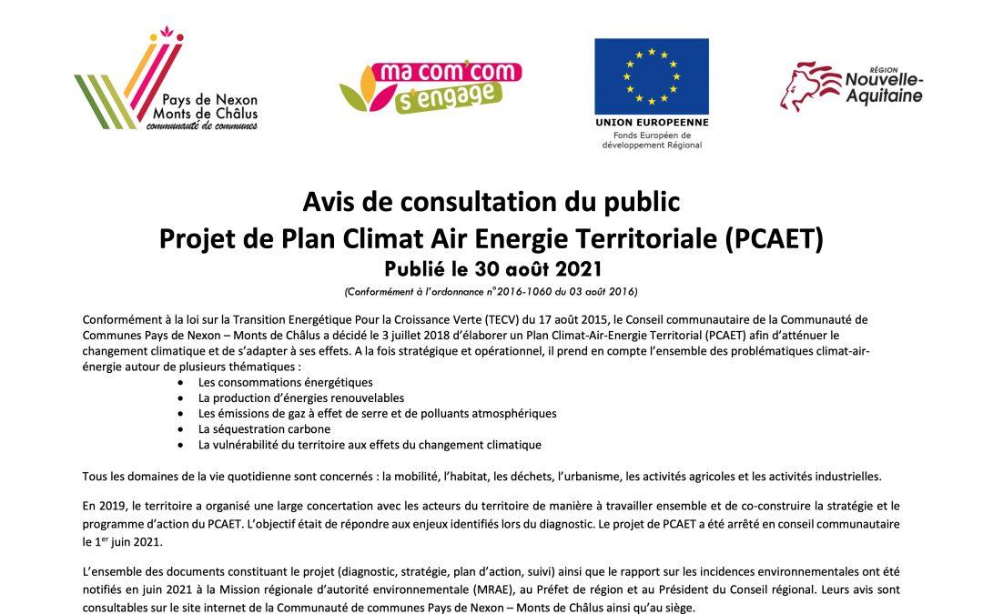 Avis de consultation de Public Projet de Plan Climat Air Energie Territoriale (PCAET)