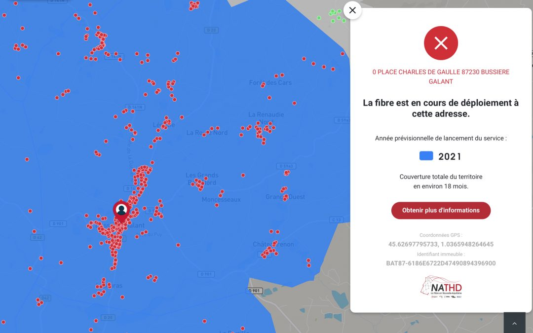 Fibre, les points rouges sont allumés sur la plaque de Bussière-Galant bourg