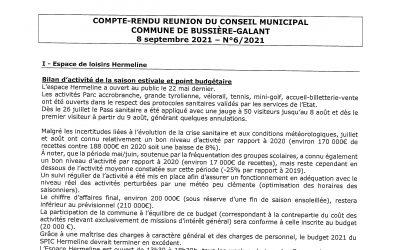 Compte rendu du conseil municipal du 8 Septembre 2021