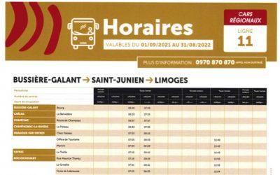 Nouveau horaire et point d'arrêt bus n° 11